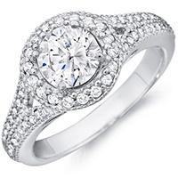 Tamar diamond ring with diamond studded band by Eternity (.35 ctw.)