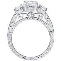 Victoria diamond ring with diamond accents and etched band by Eternity (.55 ctw.)