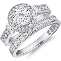 Bianca Milgrain Cathedral Halo Engagement Ring and Matching Band  (.67 ctw.)