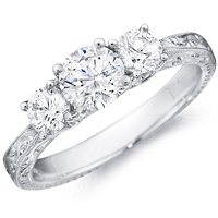 Beatrice round-cut diamond with diamond accents and detailed band by Eternity (.52 ctw.)
