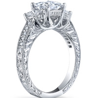 Naomi Three Stone Princess Ring with Scroll Work