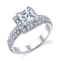 Ella Pave Princess Halo Ring (.64 ctw.)