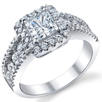 Maxine Three Row Halo Princess Engagement Ring