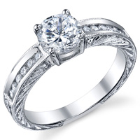 Mary Channel Set Diamond Ring With Scroll Work
