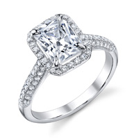 Olevine Pave Emerald Cut Halo Ring (.45 ctw.)