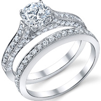 Cathedral Pave Diamond Ring and Matching Band