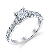 Lina Cathedral Princess Cut Diamond Ring (.58 ctw.)
