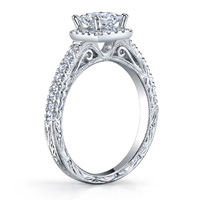 Clara Vintage Princess Cut Halo Ring With Scroll Work (.34 ctw.)