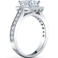 Princess Cut Halo Ring With Milgrain