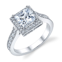 Celine Princes Cut Diamond Halo Ring With Milgrain