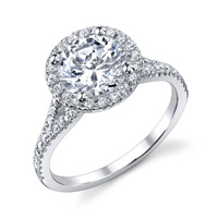 Melanie Diamond Halo Ring With Split Shank
