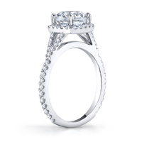 Inez Diamond Halo Ring With Split Shank