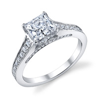 Paula Cathedral Princess Cut Diamond Ring (.45 ctw.)
