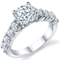 Shared Prong Cathedral Diamond Ring