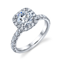 Stephanie Cushion Halo With Round Cut Diamond Ring