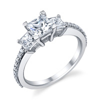 Three Stone Pave Princess Cut Ring