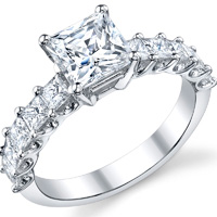 Princess Cut Shared Prong Ring With Open Gallery