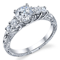 Five Stone Engagement Ring With Scroll Work