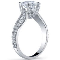 Pave Diamond Ring With Knife Edge and Diamond Studded Prongs