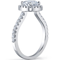 Round Cut Diamond With Cushion Halo Ring
