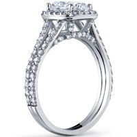 Cushion Cut Halo Ring With Split Shank