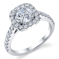 Cathedral Cushion Cut Diamond Halo Ring