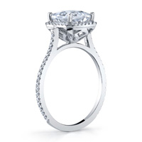 Thin Pave Princess Cut Halo Ring